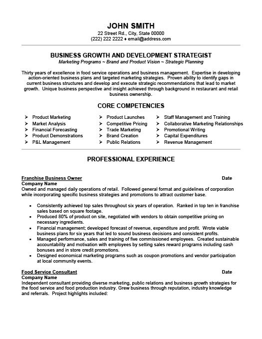 Franchise Business Owner Resume Template Premium Resume Samples - Business Resume