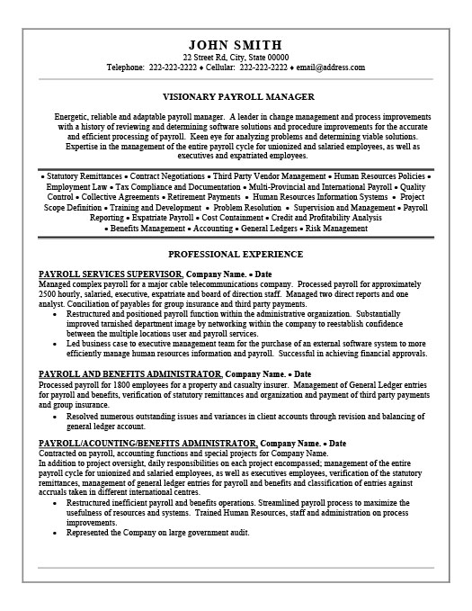 Payroll Administration Cover Letter - benefits administrator resume