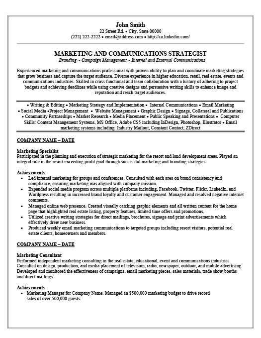 Sample Resume Marketing Specialist - Digital Marketing Specialist
