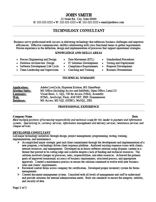Technology Consultant Resume Template Premium Resume Samples  Example - resume consulting