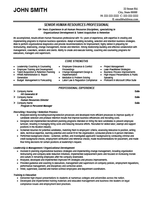 sample good hr generalist resume resume sample for hr manager - director of hr resume