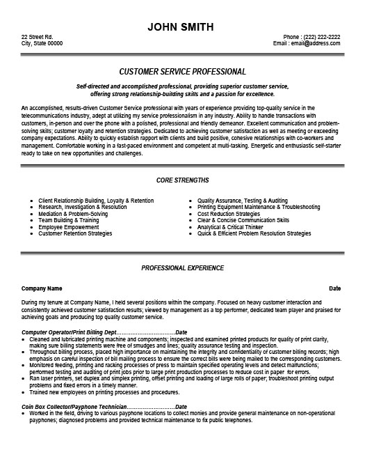 Customer Service Professional Resume Template Premium Resume - Customer Services Resume