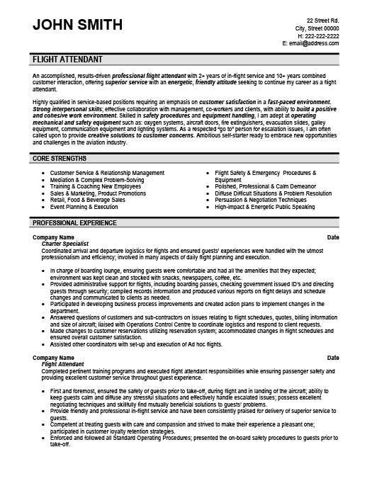 Flight Attendant Resume Template Premium Resume Samples  Example
