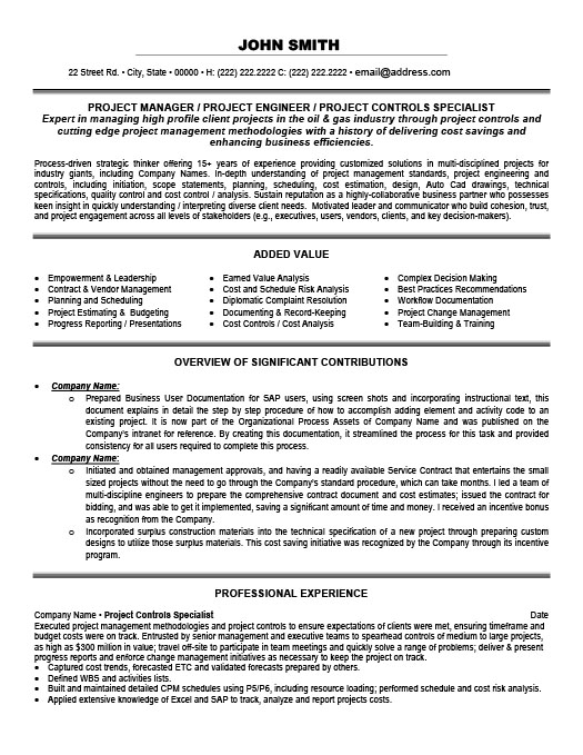Project Controls Specialist Resume Template Premium Resume Samples