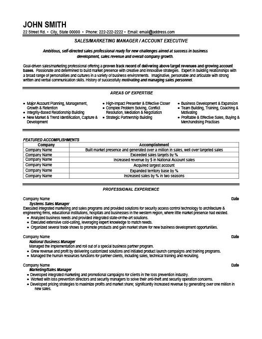 Sales or Marketing Manager Resume Template Premium Resume Samples - marketing manager resume sample