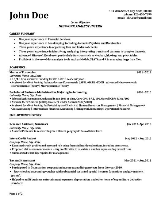Network Analyst Intern Resume Template | Premium Resume Samples