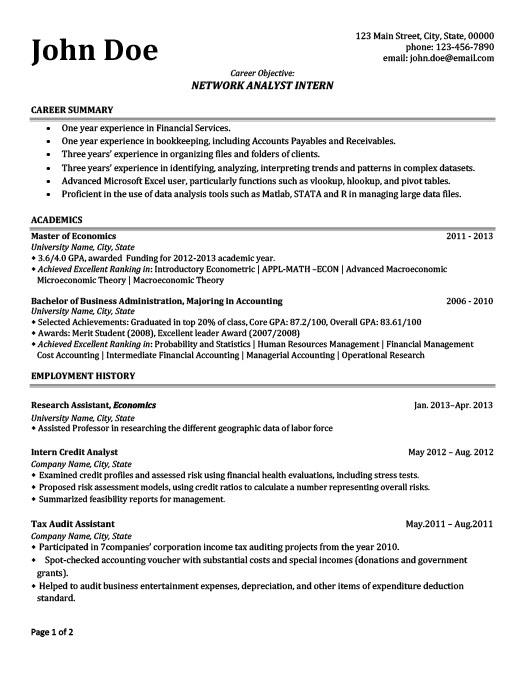 Network Analyst Intern Resume Template Premium Resume Samples - template for internship resume