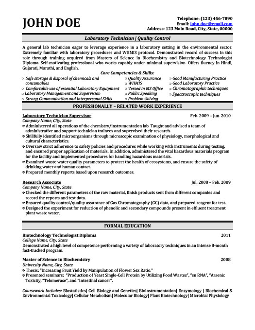 Laboratory Technician Resume Template Premium Resume Samples  Example