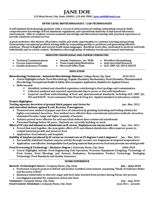 Biotechnology Resume Templates, Samples  Examples Resume