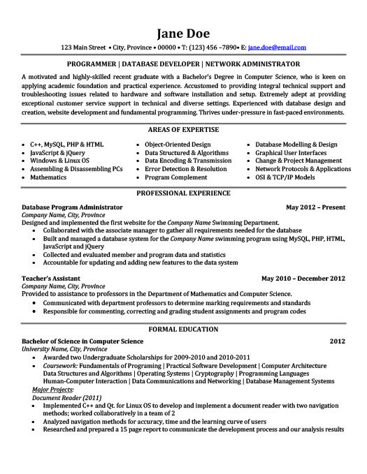 Programmer Database Developer Network Administrator Resume