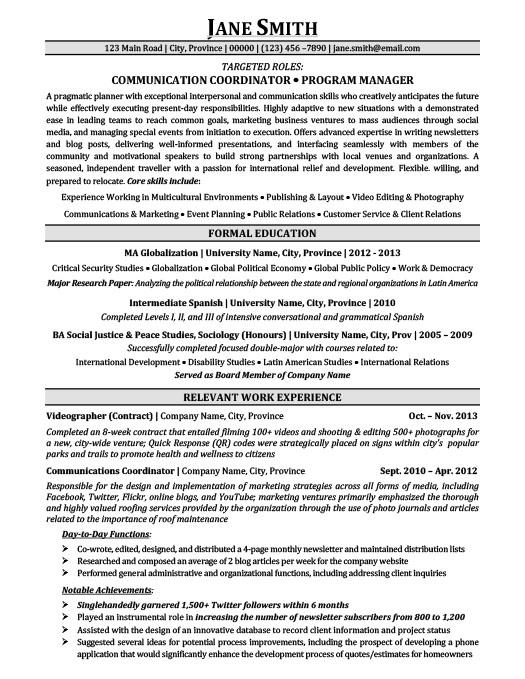 Communication Coordinator Program Manager Resume Template