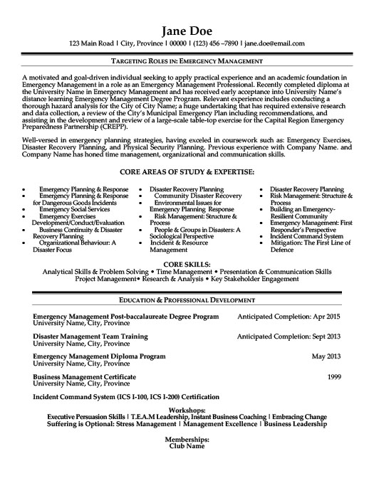emergency management sample resume