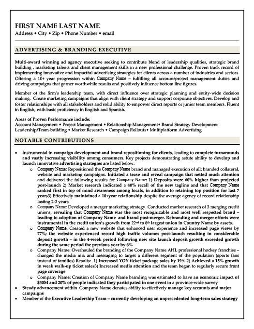 Advertising - Branding Executive Resume Template Premium Resume - advertising executive resume