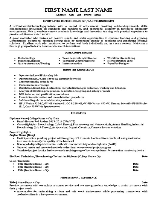 Lab Technician Resume Template Premium Resume Samples  Example