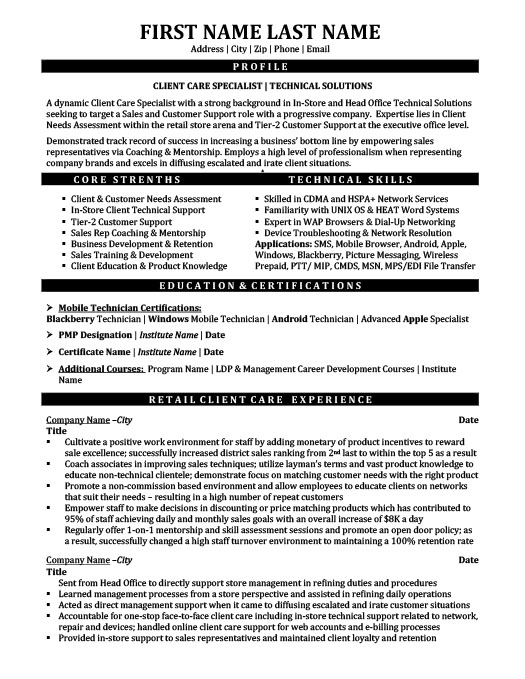 Client Care Specialist - Technical Solutions Resume Template