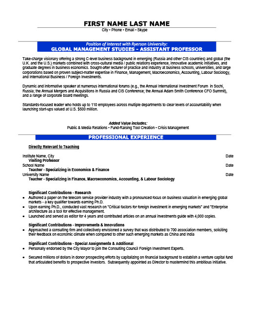 Assistant Professor Resume Template Premium Resume Samples  Example