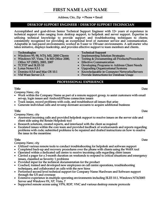 Desktop Support Engineer Resume Template Premium Resume Samples