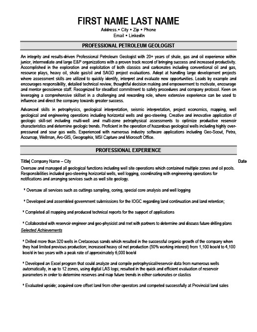 Professional Petroleum Geologist Resume Template Premium Resume - geologist sample resumes