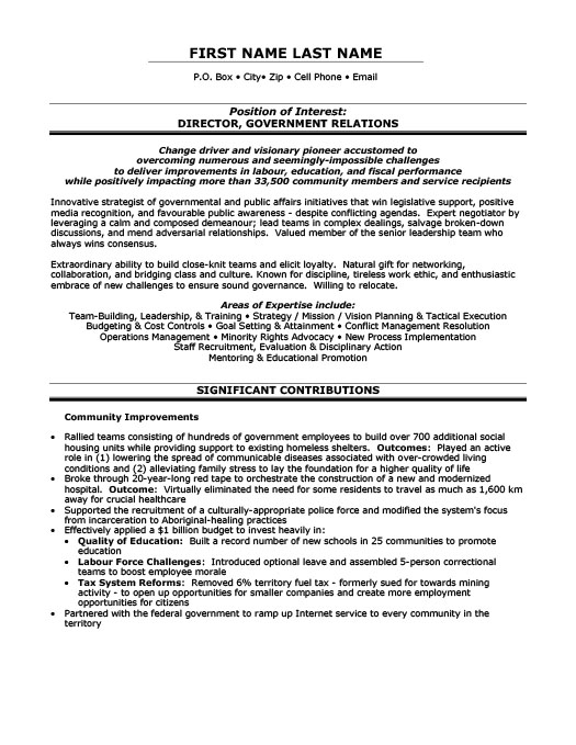 Director, Government Relations Resume Template Premium Resume