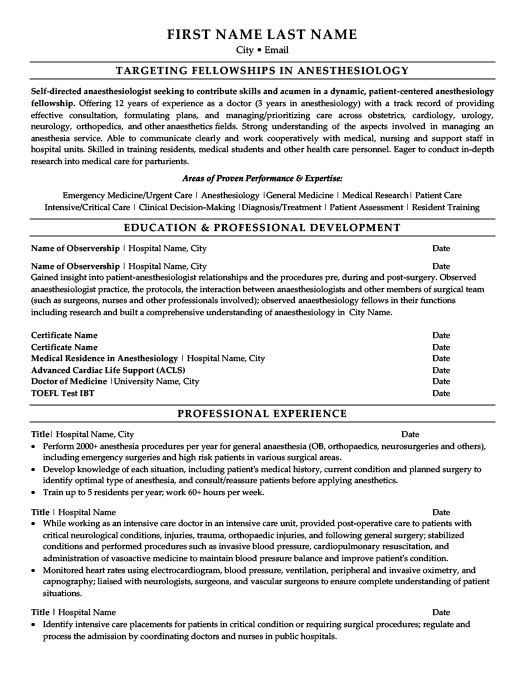 Anaesthesiologist Resume Template Premium Resume Samples  Example - anesthesiologist resume