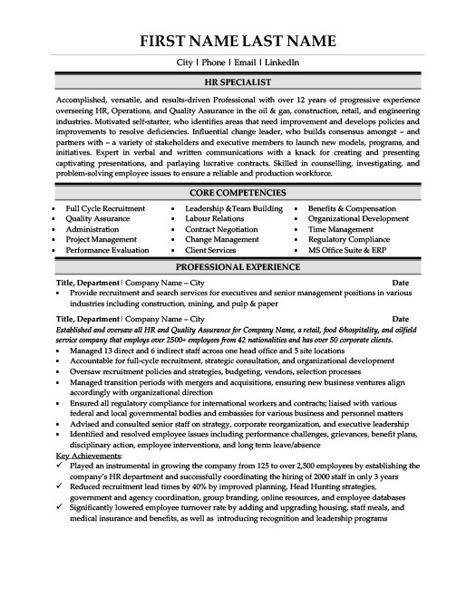 HR Specialist Resume Template Premium Resume Samples  Example - human resources specialist resume