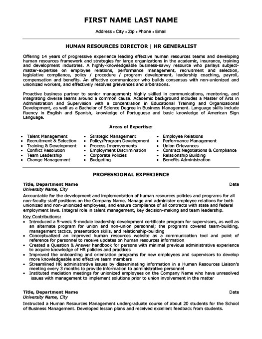 Human Resources Director Resume - human resources resume