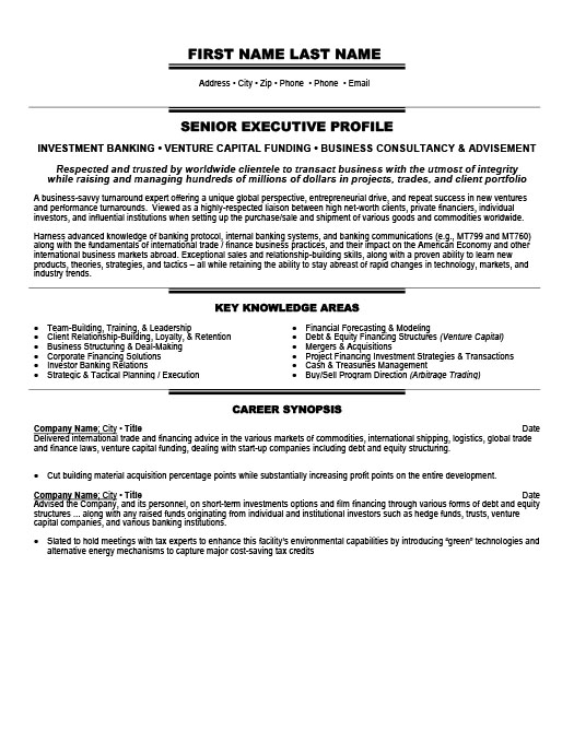 Investment Banker Resume Template Premium Resume Samples \ Example - investment banking resume template