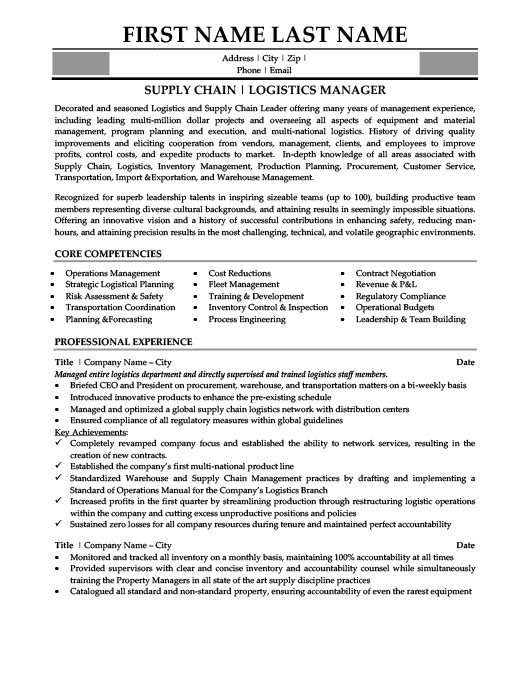Logistics Manager Resume Template Premium Resume Samples  Example