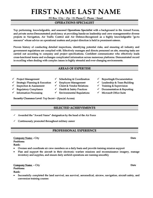 Operations Specialist Resume Template Premium Resume Samples  Example