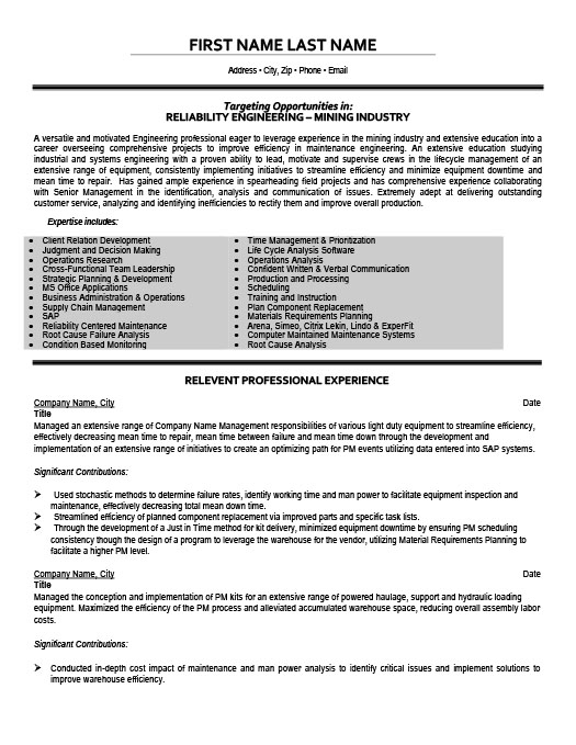 Reliability and Maintenance Engineering Intern Resume Template