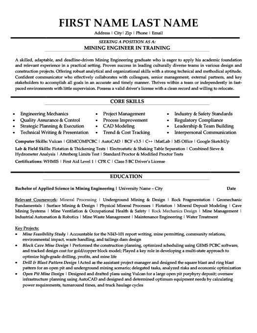 Mining Engineer in Training Resume Template Premium Resume Samples - health trainer sample resume