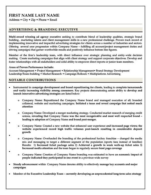 Advertising  Branding Executive Resume Template Premium Resume