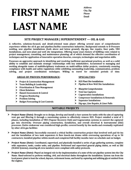 Oil and Gas Resume Templates, Samples  Examples Resume Templates 101