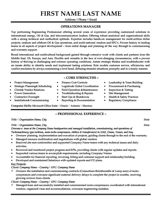 Operations Manager Resume Template Premium Resume Samples  Example - field operation manager sample resume