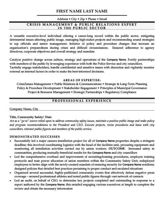 Crisis Management  Public Relations Expert Resume Template - resume examples for management