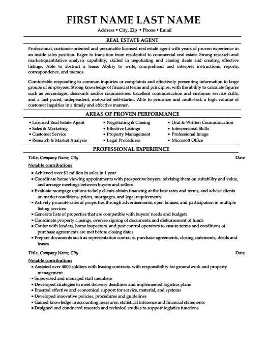 Real Estate Agent Resume Template Premium Resume Samples  Example - real resume samples