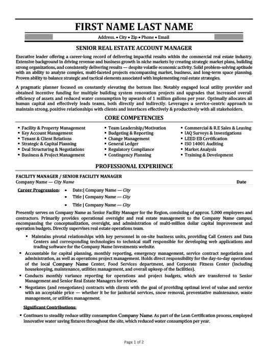 Senior Real Estate Account Manager Resume Template Premium Resume