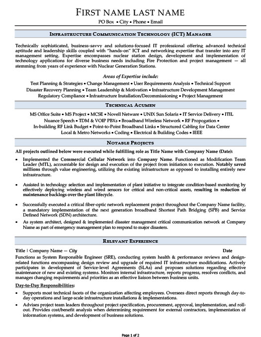 Infrastructure Communication Technology (ICT) Manager Resume - sample technology manager resume