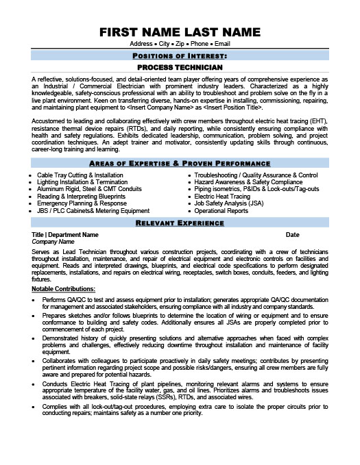 Process Technician Resume Template Premium Resume Samples \ Example - electrical technician resume