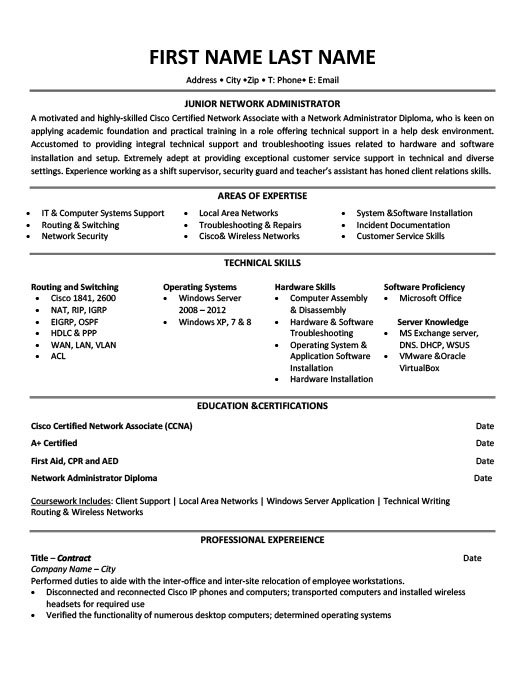 Junior Network Administrator Resume Template Premium Resume - Resume Templates For Servers
