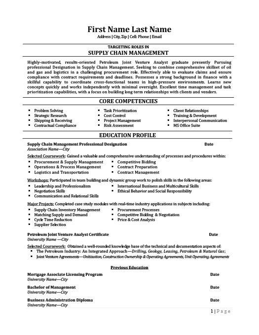Premium Resume Templates and Samples - supply chain manager resume