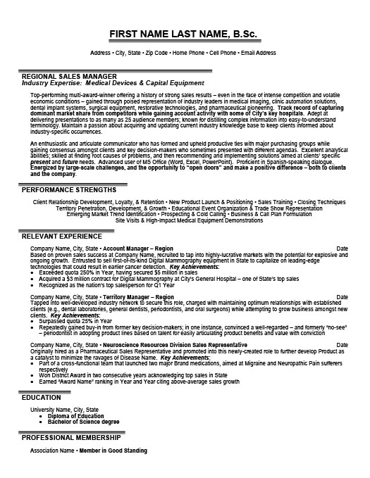 Regional Sales Manager Resume Template Premium Resume Samples - relevant experience resume sample