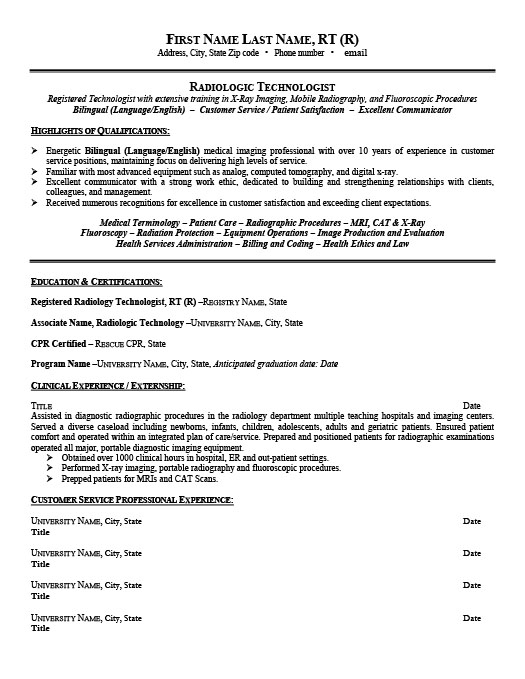 Radiologic Technologist Resume Template Premium Resume Samples - tech resume example