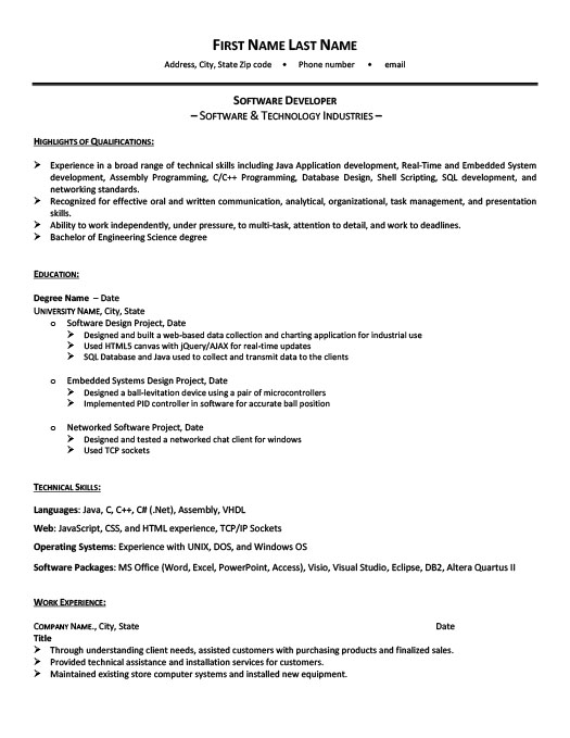 Software Developer Resume Template Premium Resume Samples  Example - software resume template