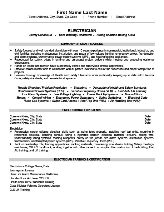Trades Resume Templates, Samples  Examples Resume Templates 101 - Example Of A Proper Resume