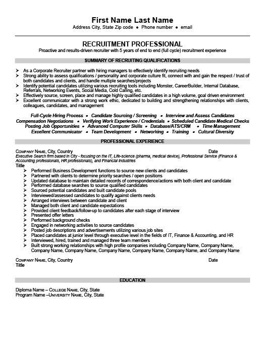 Senior Recruiter or Consultant Resume Template Premium Resume - Medical Recruiter Sample Resume
