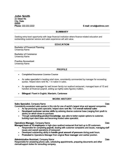 Sales Specialist Resume Template Premium Resume Samples  Example