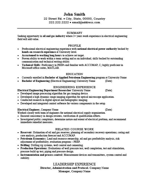 Electrical Engineer Resume Template Premium Resume Samples  Example