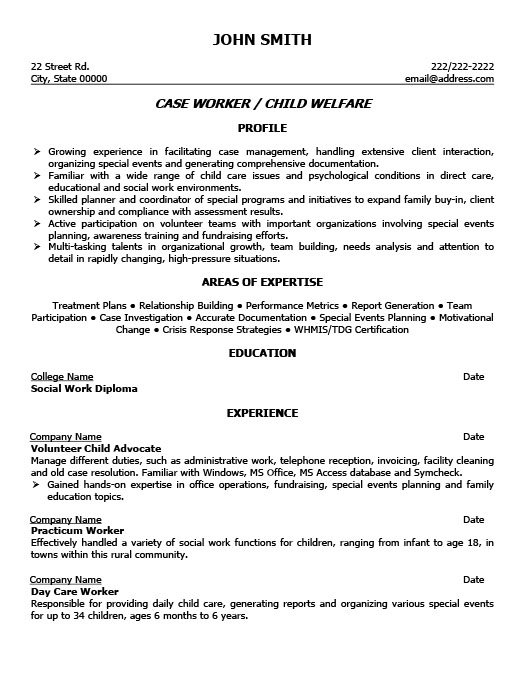 Child Welfare Case Worker Resume Template Premium Resume Samples