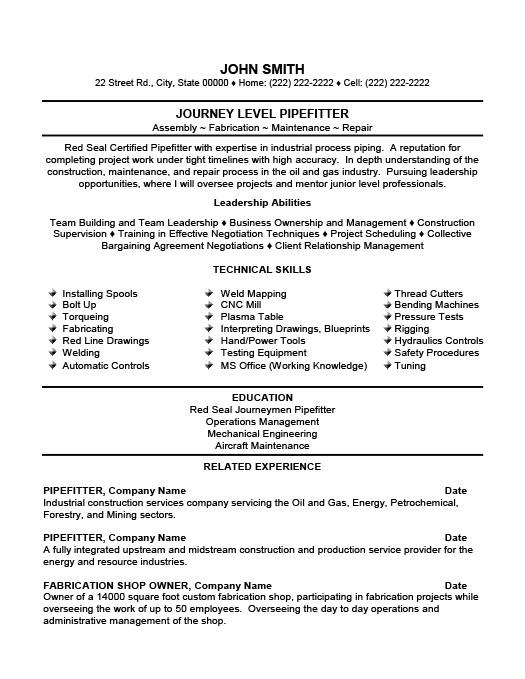 journeyman pipefitter resume sample